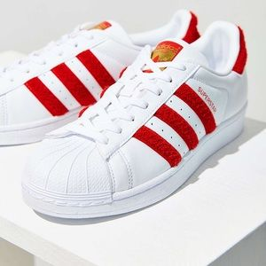 Adidas Red Chenille Heel Superstars